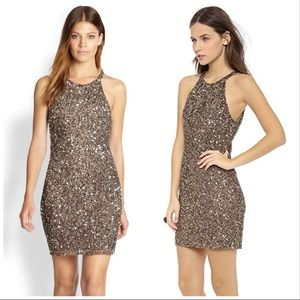 "Parker Brown Sequin ""Audrey"" Halter Mini Dress S"